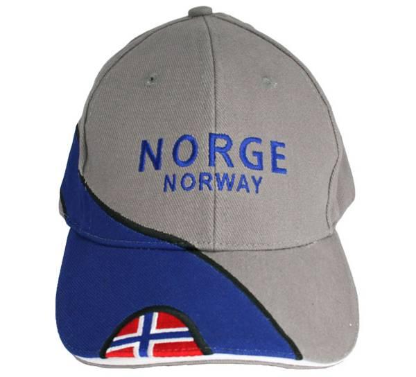 Bilde av Caps grå Norge Norway med flagg
