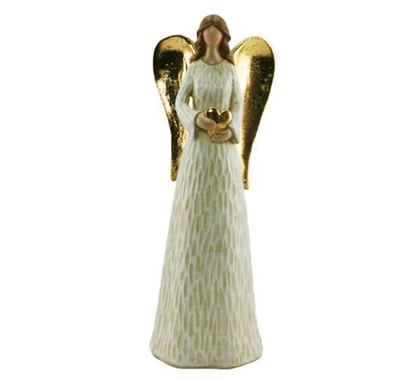Bilde av Engel med hjerte og vinger i gull