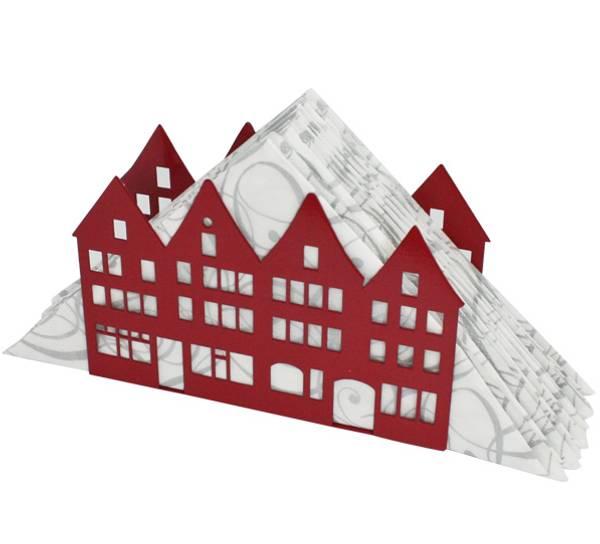 Bilde av Serviettholder med bryggehus, rød
