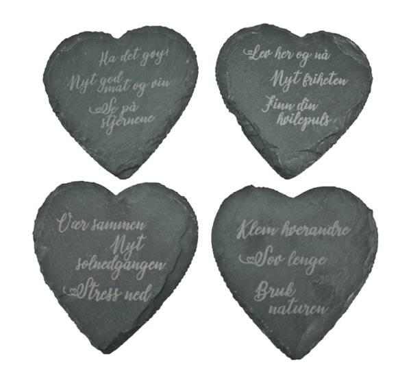 Bilde av Skiferbrikker hjerte med tekst, sett a 4