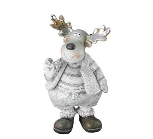 Bilde av Elg med gave glitrende sølv-hvit