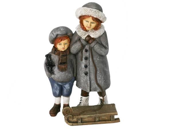 Bilde av Figur-Vinterbarn med slede