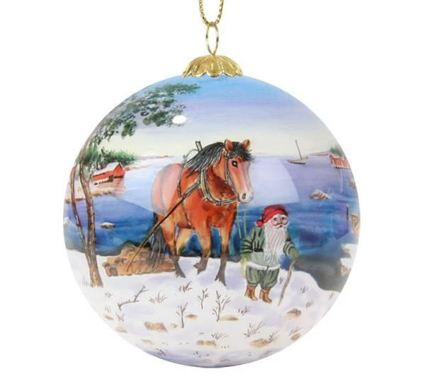 Bilde av Julekule håndmalt hest ved kysten Bergerlind