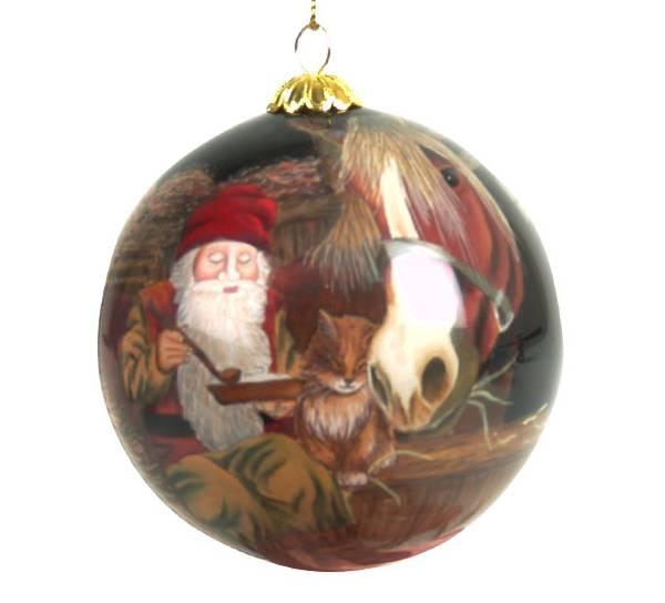 Bilde av Julekule håndmalt nisse på låven  Bergerlind