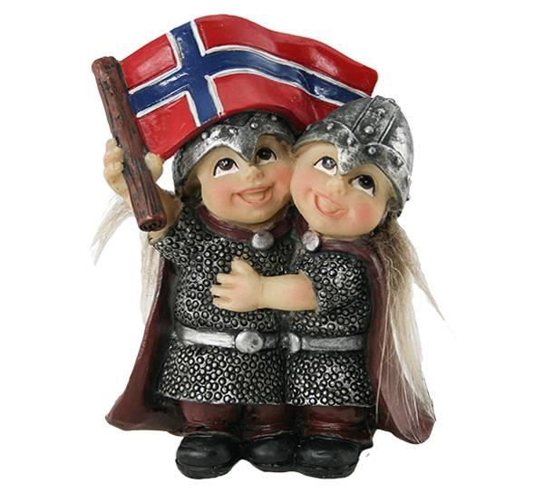 Bilde av Klemmende vikingbarn med flagg