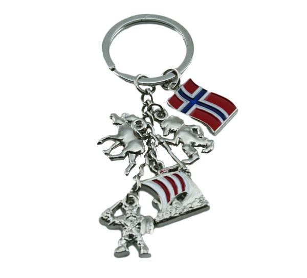 Bilde av Nøkkelring med troll, elg, viking og vikingskip