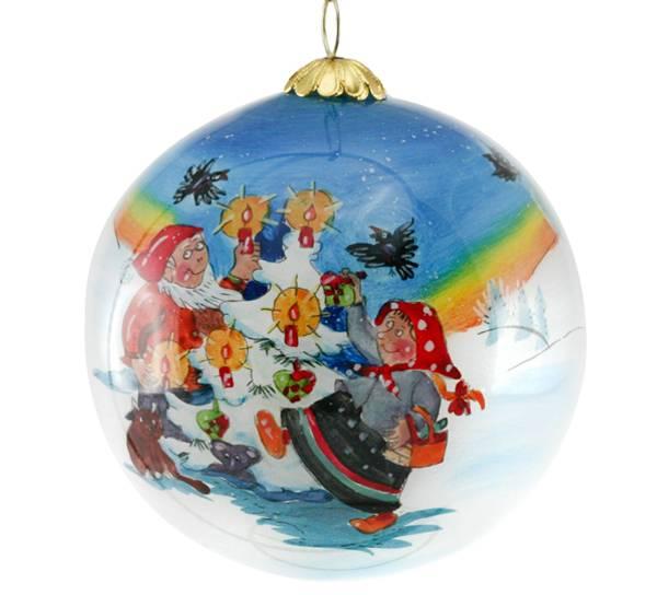 Bilde av Julekule,håndmalt, Nisser som danser