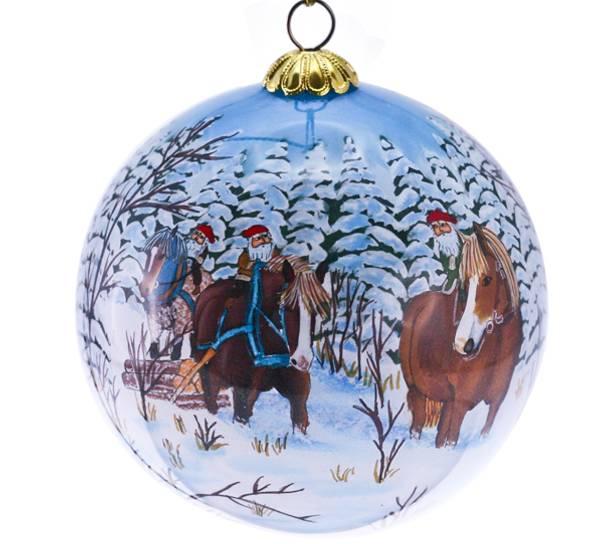Bilde av Julekule,håndmalt,nisser på tur.