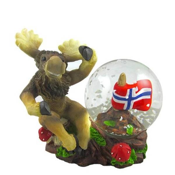 Bilde av Glasskule med polyfigur, elg, Norsk flagg