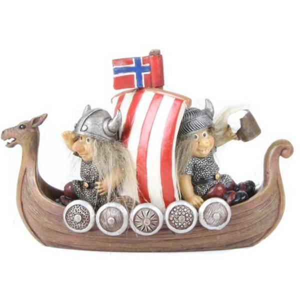 Bilde av Vikinger i båt Norskt flagg