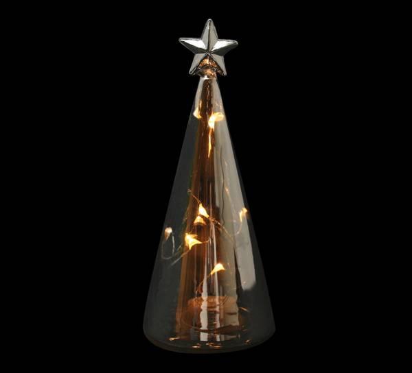 Bilde av Glasstre sotet med LED lys og stjerne, lite