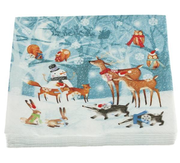 Bilde av Servietter, dyr i vinterland