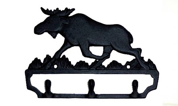 Bilde av Knagg med elgmotiv 3 kroker støpejern