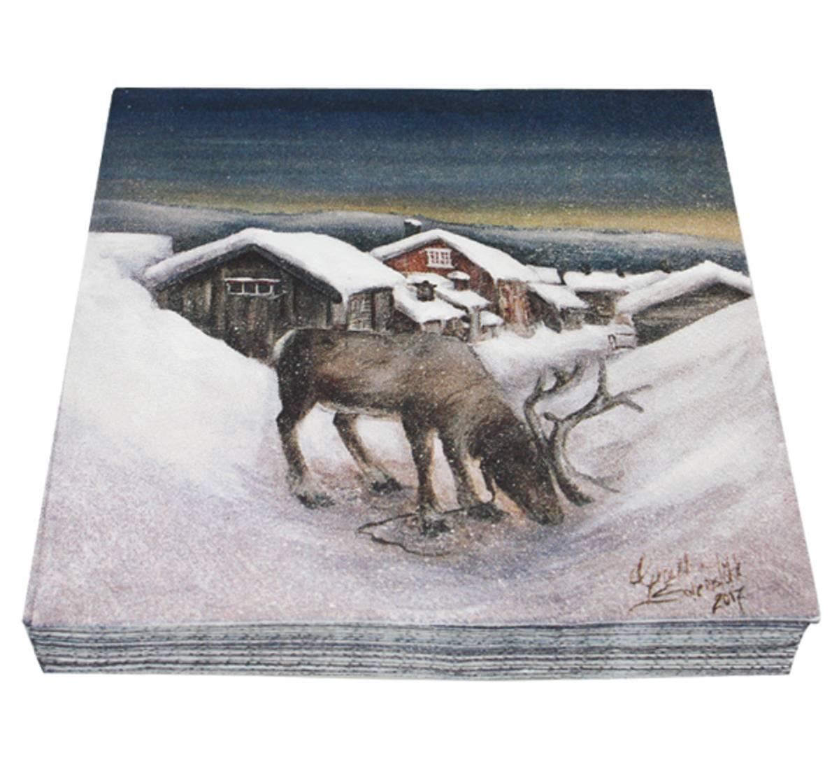 Servietter Reinsdyr i vinterland