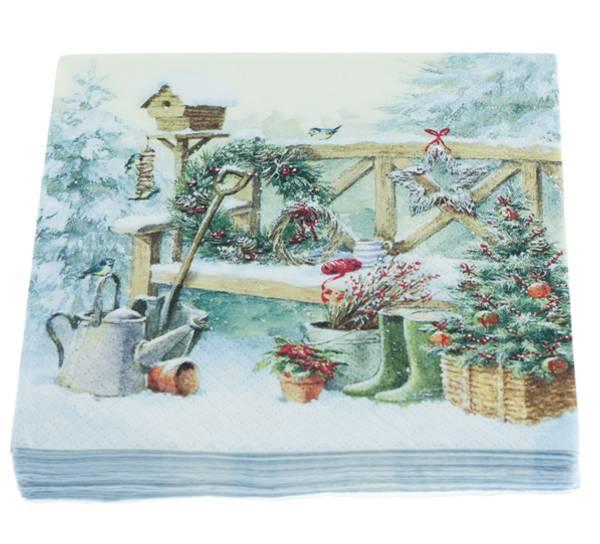 Bilde av Servietter, jul i hagen