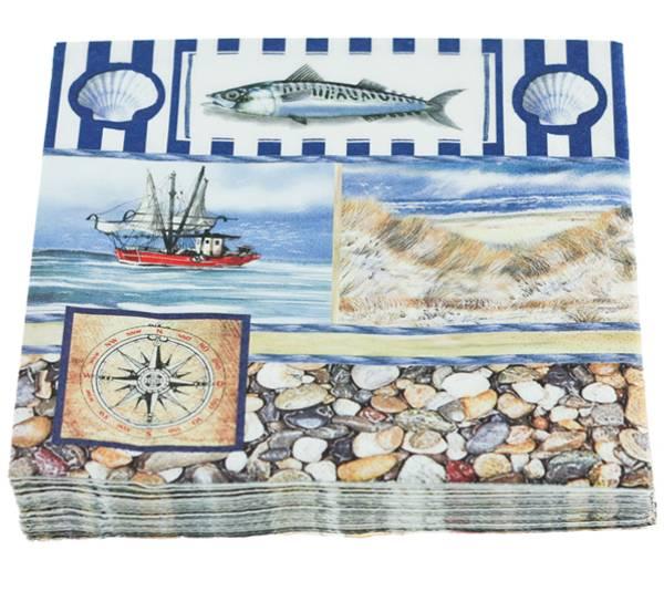 Bilde av Servietter, maritimt m. skjell og makrell