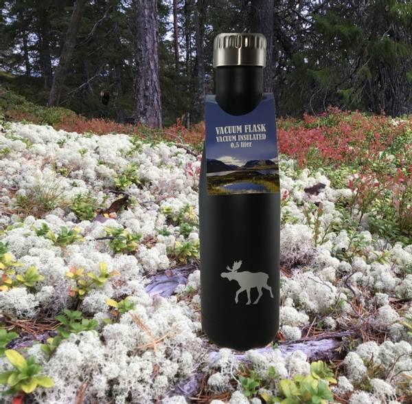 Bilde av Termoflaske sort med sølvelg