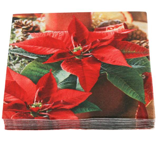 Bilde av Servietter, røde julestjerner