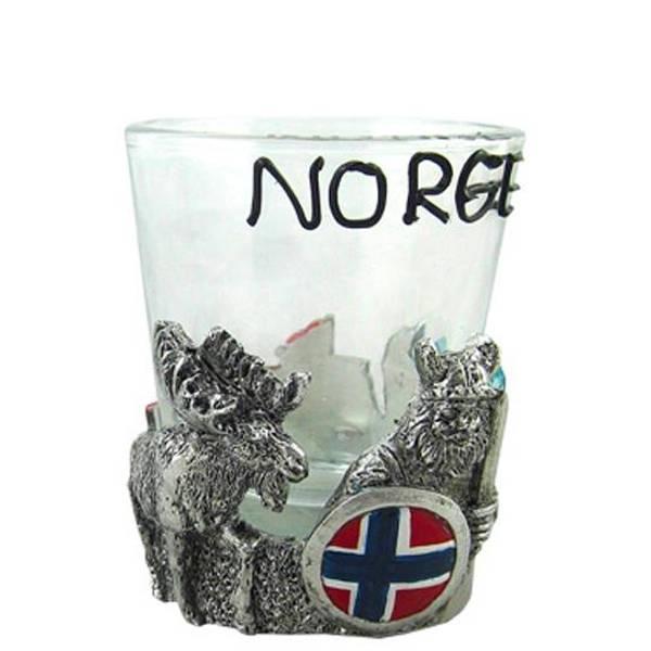 Bilde av Snapsglass, polyviking og elg norsk flagg, Norge