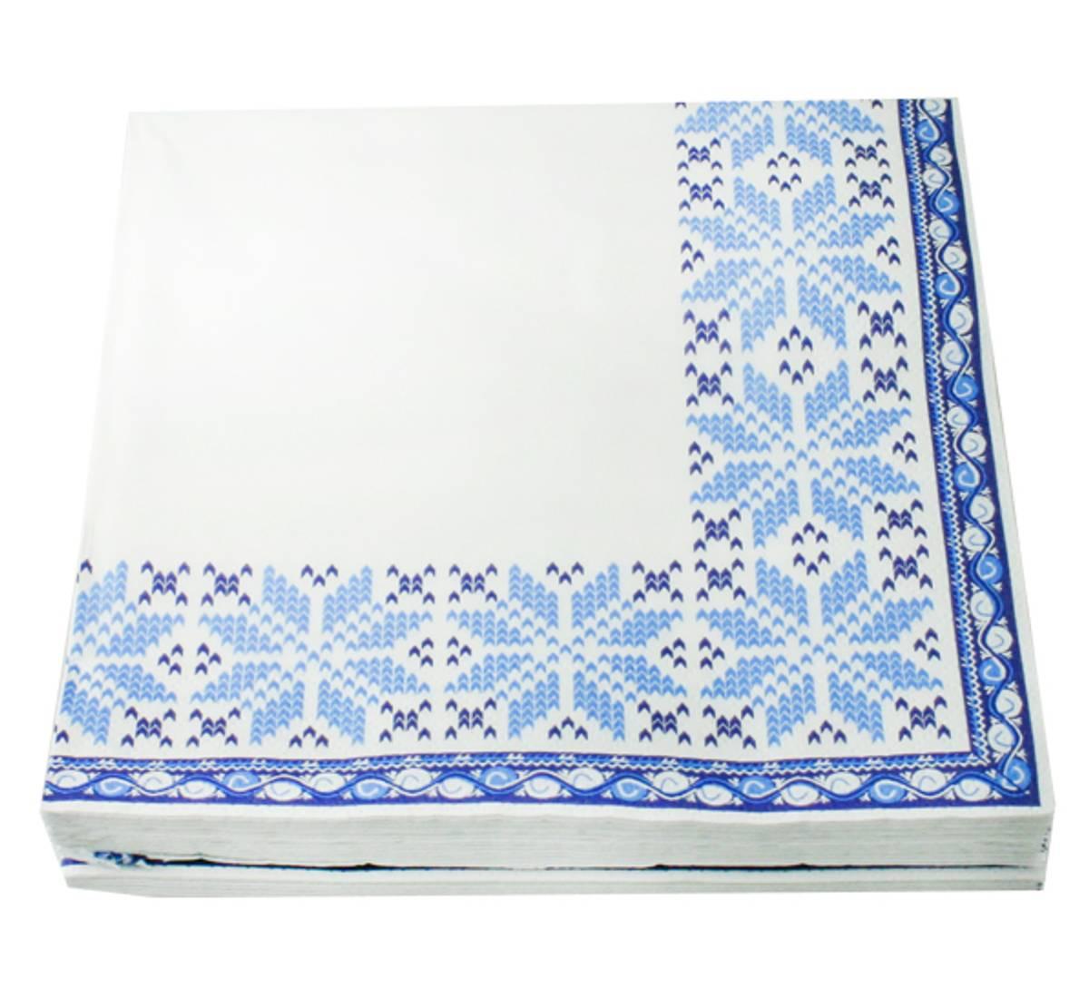 Servietter strikkemønster blått