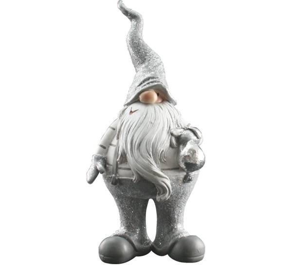 Bilde av Nisse som blunker, lang hatt, holder en pose,