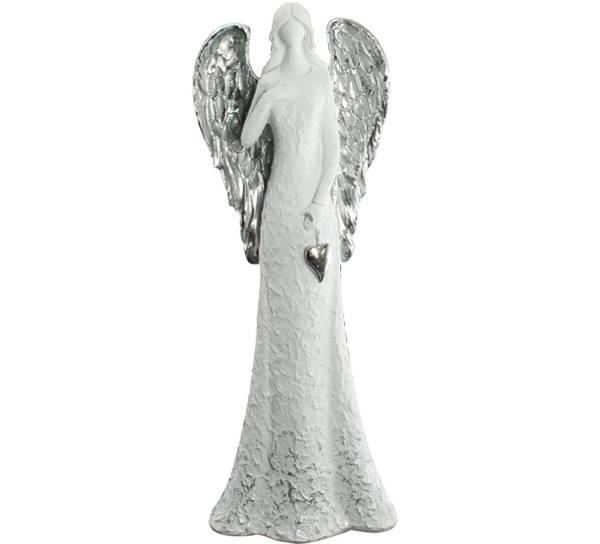 Bilde av Engel stor, holder et hjerte, hvit med sølvvinger