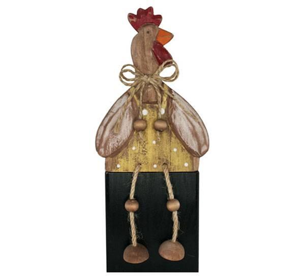 Bilde av Høne av tre, sittende, håndskåret
