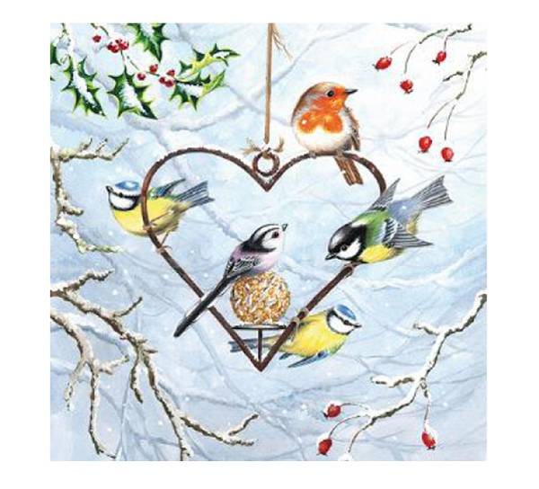 Bilde av Servietter, hjerte med småfugler