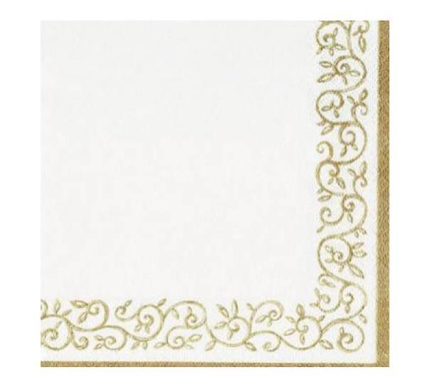 Bilde av Servietter, ornamentbord hvit med gull