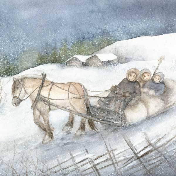 Bilde av Vinterbarn Krus, Barn i sleden