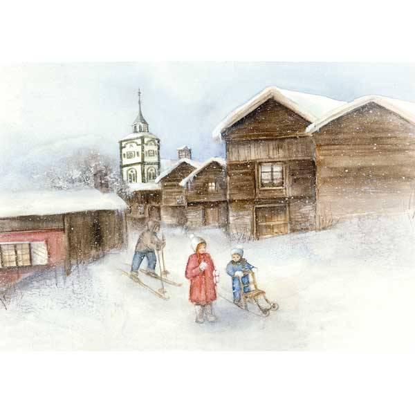 Bilde av Vinterbarn Krus, barn på ski.