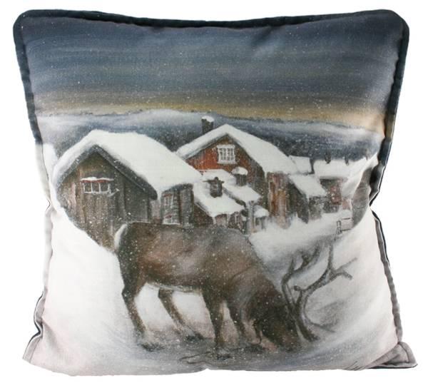 Bilde av Pute med fyll- Reinsdyr i vinterland