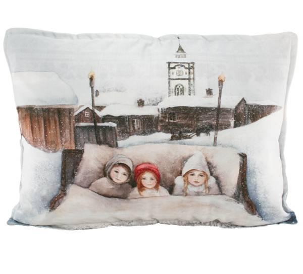 Bilde av Pute med fyll, Barn i kanefart, Vinterbarn
