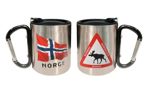 Bilde av Termokopp med lokk, flagg og elgtrekant, sort