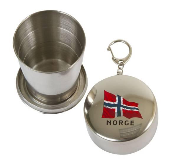 Bilde av Stålkopp, sammenleggbar, norsk flagg, børstet