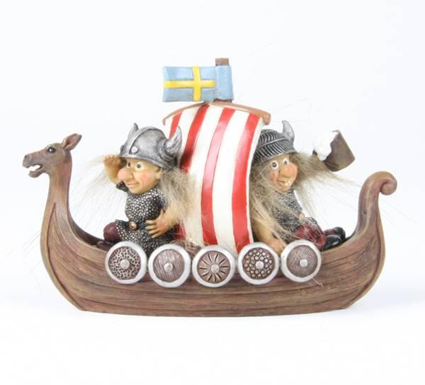 Bilde av Vikinger i båt Svenskt flagg