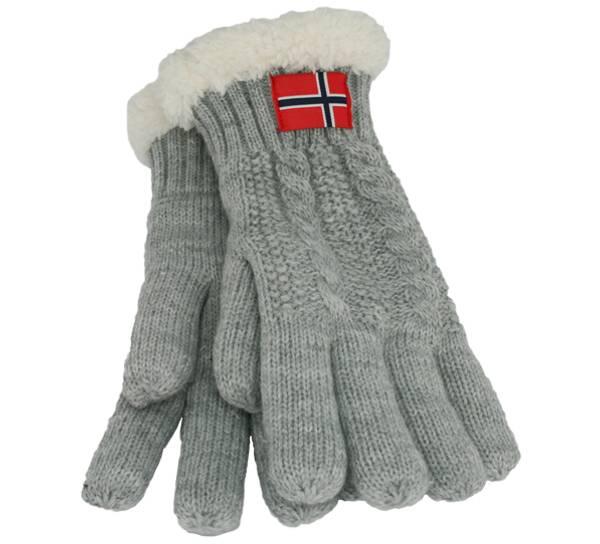 Bilde av Strikkevanter med fluffy for, grå med flagg