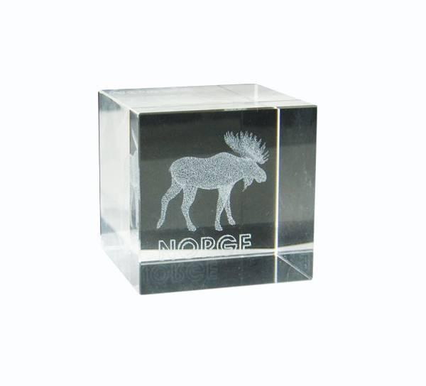 Bilde av Glassblokk med elg, Norge, kube