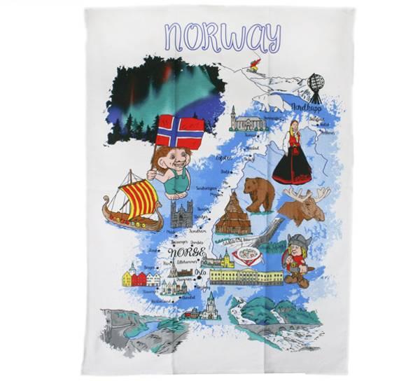 Bilde av Kjøkkenhåndkle med Norgeskart