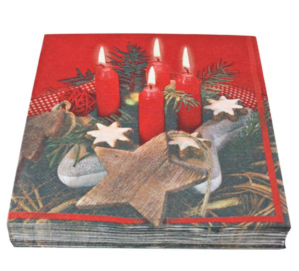 Bilde av Servietter, fire lys og stjerne
