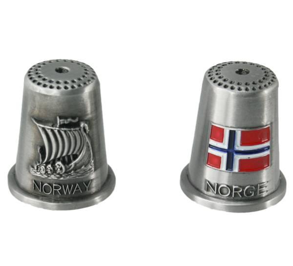 Bilde av Fingerbøl vikingskip og flagg, Norway og Norge