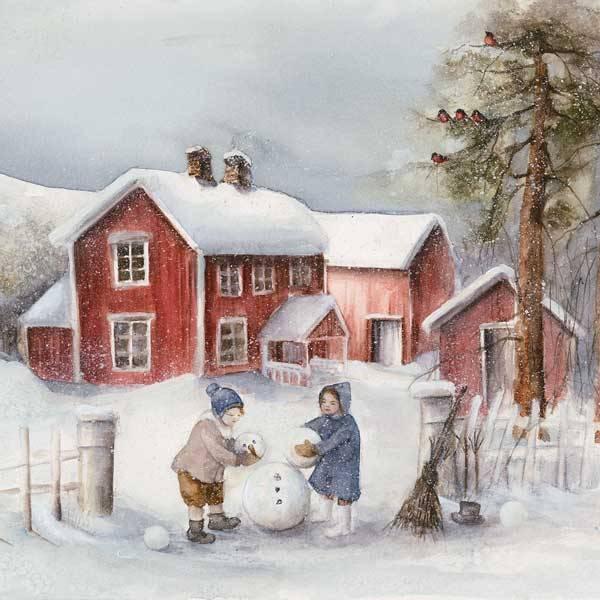 Bilde av Forkle Vinterbarn - Barn lager snømann