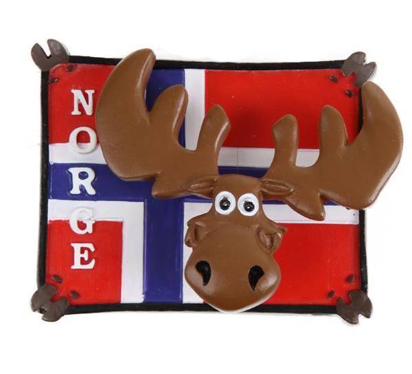 Bilde av Magnet, elg på flagg, Norge