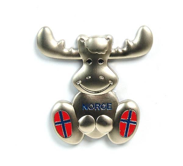 Bilde av Magnet, elg metall m flagg Norge