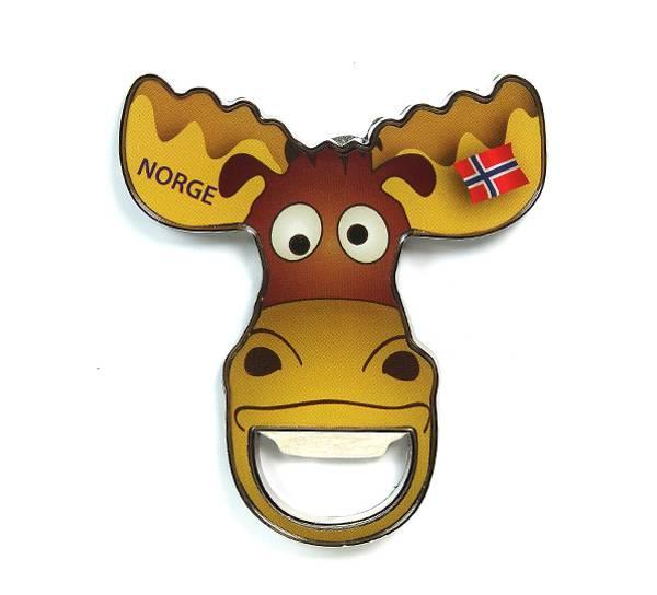 Bilde av Magnet flaskeåpner, elg m flag Norge