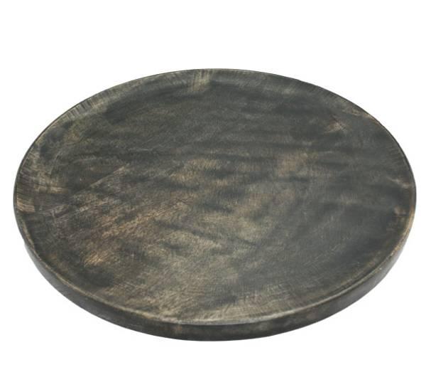 Bilde av Rundt dekrasjonsfat av tre, sort, stort,