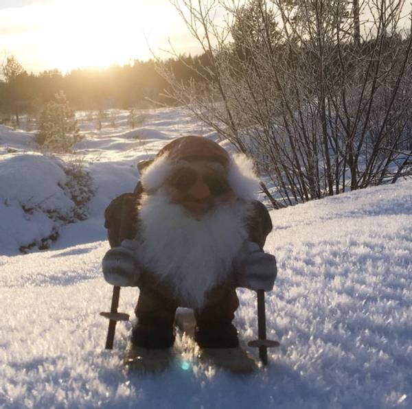 Bilde av Ny Form Nisse med sekk og ski
