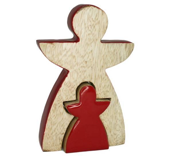 Bilde av Engel av tre, todelt, trehvit og rød. F-design.