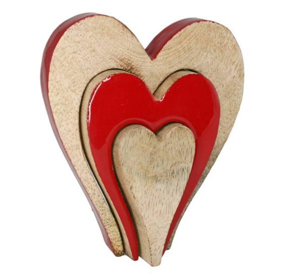 Bilde av Hjerte av tre, tredelt, trehvit og rødt.