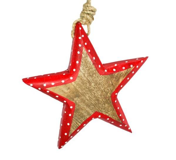 Bilde av Stjerne av tre med rød kant, stort, for oppheng